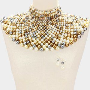 Gold&Multicolored Pearl Armor Bib Choker Necklace